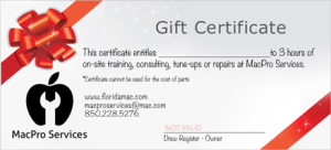 MacPro Services Gift Certificate